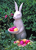 Ceramic bunny with colored eggs