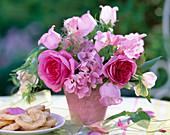 Rosa (Rose), Campanula medium (Marian bellflower)