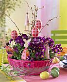 Viola cornuta sorbet (horned violet) in metal bowl