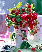 Rubus (raspberry) in lucky beetle vase