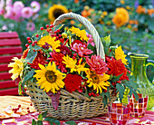 Basket with helianthus (sunflower)