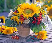 Helianthus (Sunflower), Berries of Viburnum (Snowball)