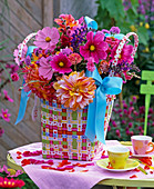 Bouquet in wicker basket