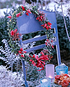 Wreath with hoarfrost made of Buxus (boxwood) with Capsicum