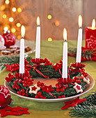 Advent wreath red-white-green