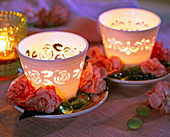 Lantern on saucer with impatiens and glass lenses