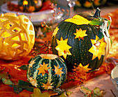 Cucurbita carved with stars and rhombuses, rose
