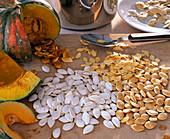 Cucurbita (pumpkin), various pumpkin seeds, dried and wet