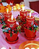 4 pots as Advent wreath