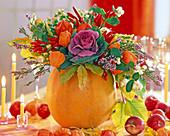 Cucurbita as a vase, Brassica, Physalis