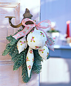 Abies procera (noble fir) bouquet and tree decorations