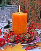 Rosehip clematis wreath