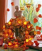 Leaf wreath with fairy lights