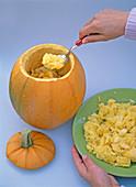 Dahlia arrangement in the pumpkin
