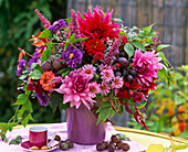 Autumn bouquet in the lilac pot