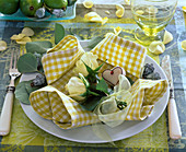 Folding green and white checkered cloth napkin