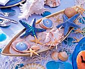 Maritime, ceramic jardiniere with sand, shells, starfish