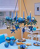 Christmas maritime hanging Advent wreath with fish, starfish