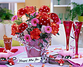 New Year's Eve bouquet with pink gerbera, Dianthus (carnation) orange-red