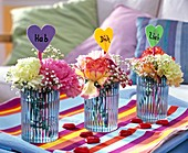 Dianthus, gypsophila, sponge plug, valentine