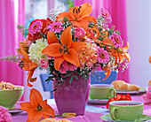 Bouquet made of Lilium (lily), Dianthus (carnation), Gerbera