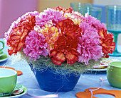 Arrangement of Dianthus (carnation) with sisal cuff