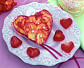 Oasis heart with carnation petals