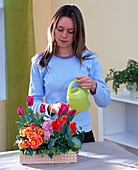 Plant fruit box with spring flowers