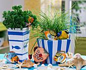 Decorate planters blue-white