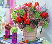 Bouquet of Tulipa, Helleborus, Viburnum