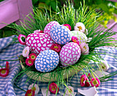 Easter eggs painted and covered with eggshells