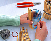Decorate glasses with willow sticks
