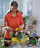 Plant yellow metal tray