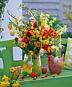Easter bouquet with Forsythia, Tulipa, Salix erythroflexuosa