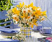 Bouquet of Narcissus, Tulipa, Matricaria chamomilla
