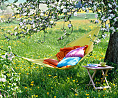 Yellow fabric hammock with pillows and blanket under the blossoming apple tree