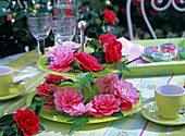 Camellia blossoms (camellia) on green cake stand, espresso cups