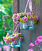 Lanterns with Alchemilla and Dianthus wreaths