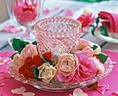Wreath of Rose flowers around lantern