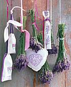Lavandula (lavender) bouquet, embroidered lavender sachets