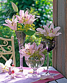 Lilium (lily), light pink, Alchemilla (lady's mantle)
