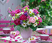 Bouquet of Paeonia (peony) pink and pink, Argyranthemum
