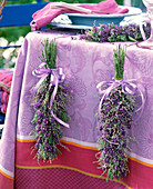 Lavender, sea lavender bouquets as table decoration