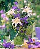 Bouquet with Lilium (lily), Campanula (bellflower), Alchemilla