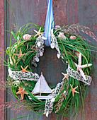 Spartina wreath, grasses, narrow web as a ribbon