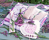 Lavandula as posy, in embroidered bags and sachets