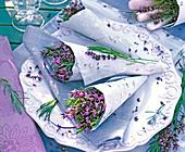 Lavandula (lavender) in bags of homemade paper