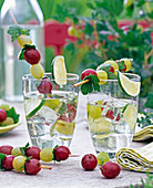 Ribes skewered on skewers, citrus slices