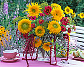 Bouquet of Helianthus, Zinnia, Amaranthus