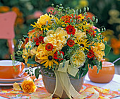 Late summer bouquet with Rose, rudbeckia